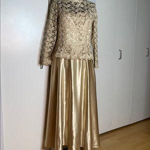 Jovani Satin and Lace Gold Dress